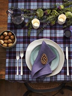 2.  Photo Gallery: Holiday Tables | House & Home;  Idea:  - Feature a plaid paper on a layout or cover an alpha in a plaid and use it on your page.