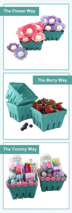 Berry-Baskets-3-Ways!  Easter ideas! #viablossom #berrybasket #Easter #party