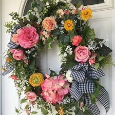 Spring Wreath-Summer Wreath-Hydrangea Wreath-Mothers Day Wreath Summer Wreath for Door-French Country Wreath-Wedding Wreath-Farmhouse Decor Add a wonderful splash of color this spring with this bright and cheery garden wreath. A gorgeous mix of roses, hydrangea, ranunculus, white lilac