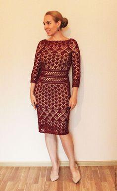 Crochet Short Dresses, Lace Summer Dresses, Crochet Lace Dress, Crochet Blouse, Crochet Clothes, Knit Dress, Looks Plus Size, Party Gowns, Mob Dresses