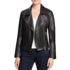Bb Dakota Heely Leather Moto Jacket (1.200 BRL) ❤ liked on Polyvore featuring outerwear, jackets, black, motorcycle jackets, moto jacket, genuine leather biker jacket, real leather jackets and leather rider jacket