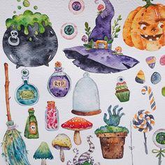 Halloween Illustration, Watercolor Illustration, Watercolor Art, Halloween Painting, Halloween Art, Bullet Journal Halloween, Art Sketches, Art Drawings, Halloween Clipart