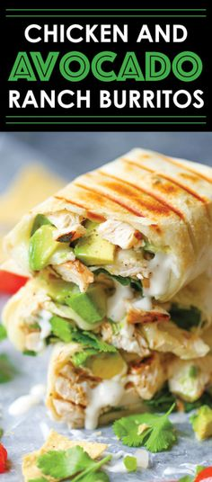 Chicken and Avocado Ranch Burritos – These come together with just 15 min prep! … Chicken and Avocado Ranch Burritos Think Food, I Love Food, Good Food, Yummy Food, Tasty, Yummy Lunch, Awesome Food, Mexican Food Recipes, Dinner Recipes