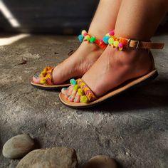 Bohemian Sandals with Rainbow Pom Pom Mimosa by SandalsofLove