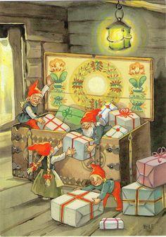 Swedish Christmas, Old Christmas, Christmas Gnome, Scandinavian Christmas, Christmas Pictures, Christmas Themes, Vintage Christmas, Xmas, Retro Illustration