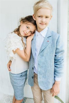 Girl`s off white blouse and blue shorts; blue boy`s jacket, white shirt, beige shorts. Well Dressed Kids, Cute Dresses, Flower Girl Dresses, Beige Shorts, Future Daughter, Kids Wear, Summer Collection, Little Boys, Fashion Brand