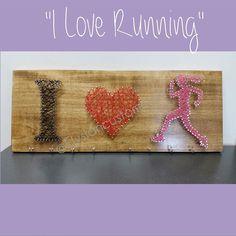 """String Art, """"I Love Running"""", Custom Made, Athlete Decor, Medal hanger, Medal display, Wall Decor by ElysianCustomCrafts on Etsy"""