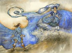 O zittre nicht by Himmapaan on deviantART (Prince Tamino and the Queen of the Night from Nozart's opera The Magic Flute) Art And Illustration, Ink Illustrations, Fantasy Kunst, Fantasy Art, Lyric Opera, The Magic Flute, Arabian Nights, Whimsical Art, Figure Painting