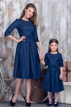 """Mommy and I are Daddy's girls."" Mother Daughter Pictures, Mother Daughter Fashion, Mom Daughter, Mommy And Me Outfits, Girl Outfits, Modest Fashion, Girl Fashion, Nice Dresses, Girls Dresses"