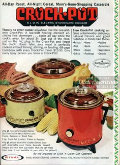 Genuine original Crock-Pot Slow Cookers I have one exactly like the one on the left, passed down to me from my great-great Aunt Lucy. Retro Advertising, Retro Ads, Vintage Advertisements, Vintage Ads, Vintage Food, Crock Pot Slow Cooker, Crock Pot Cooking, Crockpot Meals, My Childhood Memories