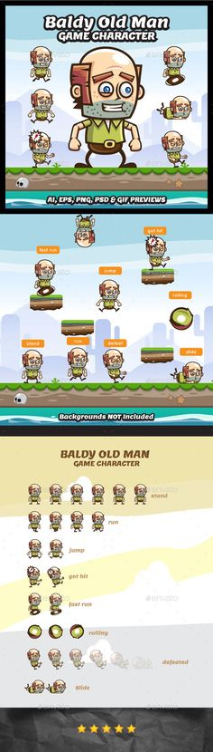 Baldy Old Man Game Character Sprite Sheets Download here: https://graphicriver.net/item/baldy-old-man-game-character-sprite-sheets/18083276?ref=KlitVogli