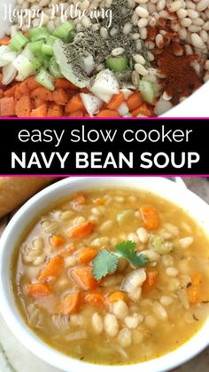 Learn how to make the best slow cooker navy bean soup from dried beans! This easy crockpot recipe make a delicious, filling meal that's easy to prepare using simple ingredients like white beans, carro White Bean Recipes, Bean Soup Recipes, Healthy Soup Recipes, Vegetarian Recipes, Bean Crockpot Recipes, Vegetarian Crockpot Soup, Vegan Bean Recipes, Vegetarian Barbecue, Hamburger Recipes