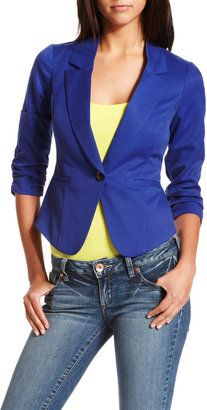 ShopStyle: Woven Blue Ruched Blazer
