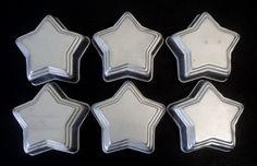 Set (6) Aluminium STAR SHAPE Cupcake/ Muffin/ Mini Cake JELLOW MOLD PANS #Wilton