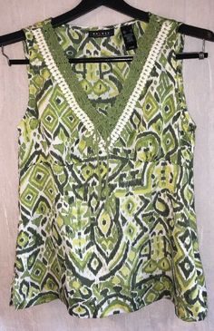 81e6662e327ca AXCESS Liz Claiborne Small Blouse Sleeveless Top Silky V-neck Green  amp  White  Top