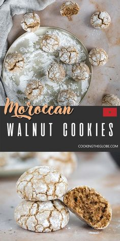 The walnut version of the famous Moroccan cookies known for their beautiful cracked surfaces. The inside is chewy with a rich nutty taste. A great accompaniment to a cup of tea or coffee! Easy Cookie Recipes, Dessert Recipes, Walnut Cookies, Cookie Calories, Spiced Coffee, Coffee Recipes, Different Recipes, Food Processor Recipes, Morocco