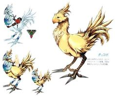 Chocobo (Final Fantasy X) - The Final Fantasy Wiki - 10 years of having more Final Fantasy information than Cid could research! Final Fantasy Iv, Final Fantasy Artwork, Final Fantasy Characters, Fantasy Concept Art, Fantasy Series, Creature Design, Fantasy Creatures, Game Art, Monsters