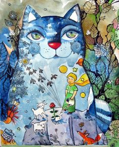 """""""The Little Prince"""" par Oxana Zaika I Love Cats, Crazy Cats, Kittens Cutest, Cats And Kittens, Image Chat, Illustration Art, Illustrations, Cat Colors, Cat Drawing"""