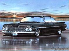 1959 Chevy Impala 2 Door Hardtop Classic Car Art Print 11x14 – Parry Johnson Art