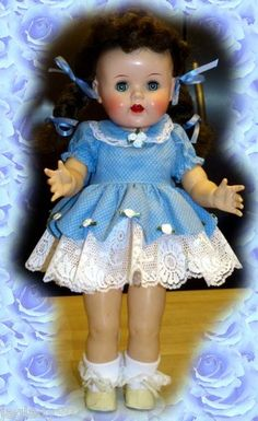 "1950s Saucy Walker A Lovely 16"" Brunette Doll in Lace Blue for The Holidays 