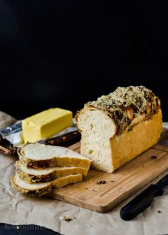 Black Olive pesto crusted cheese loaf