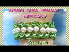 Rainbow Loom Dragon Scale Bracelet with Faux Pearls #CheerArt2013 #RubberBandGlam