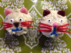 Cat birthday cupcakes -- kitten cupcakes: used upside-down candy hearts for ears, edible eyeballs, twizzlers pullers for whiskers, chocolate chip nose on left/sixlets nose on right, icing for mouth Cat Cupcakes, Birthday Cupcakes, Cat Birthday, Birthday Parties, Cats And Kittens, Icing, To My Daughter, Ears, Birthdays