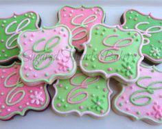 1 Dozen - Sparkling Monogrammed Cookies