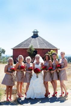 Country Wedding Theme Red look at the dress color. Red Wedding, Wedding Bells, Wedding Colors, Rustic Wedding, Wedding Day, Wedding 2017, Wedding Decor, California Wedding Venues, Before Wedding