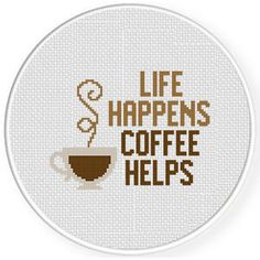 Life Happens Coffee Helps, from Daily Cross Stitch. Cross Stitch Alphabet Patterns, Wedding Cross Stitch Patterns, Geek Cross Stitch, Free Cross Stitch Charts, Disney Cross Stitch Patterns, Small Cross Stitch, Cross Stitch Freebies, Cross Stitch Letters, Cross Stitch Bookmarks