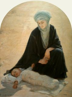 """loumargi: """"Albert Aublet Arabic Madonna and Child (The Child sleeping in the desert) 1898 """" Madonna Und Kind, Madonna And Child, Blessed Mother Mary, Blessed Virgin Mary, Religious Paintings, Religious Art, Pictures Of Mary, Queen Of Heaven, Mama Mary"""