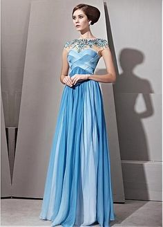 In Stock Gorgeous Gradient Tencel  Malay Satin  Transparent Net A-line Illusion High Neckline Floor-length Evening Dress With Beads