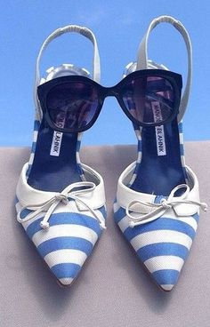 #summer #trending #shoes | Nautical Stripe Slingbacks