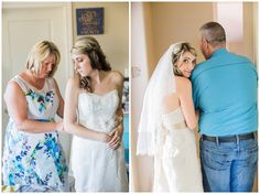 mom helping bride into dress & dad and bride before tier walk down the aisle  Sarah Jozsa Photography