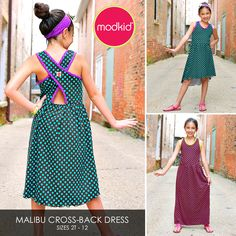 MALIBU CrossBack Dress PDF Downloadable Pattern by von modkid, $8,99