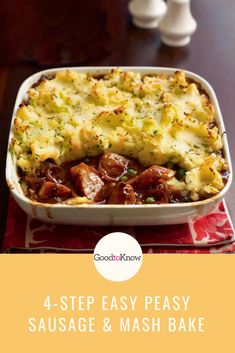 This sausage and mash bake is the ultimate family dinner - kids and adults alike will love it. Ready in just 4 steps with 20 minutes prep this family dinner doesn't take long and tastes delicious! Baked Dinner Recipes, Sausage Recipes, Pork Recipes, Slow Cooker Recipes, Cooking Recipes, Healthy Recipes, Potato Recipes, Chicken Recipes, Kid Recipes