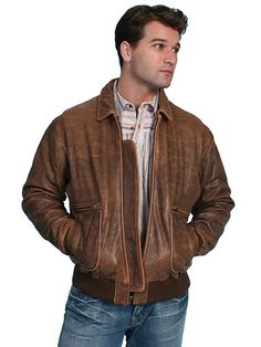 NWT Scully Antique Brown Authentic Bomber Zip Front Lambskin Leather Jacket  #Scully #FlightBomber