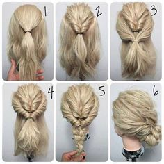 Quick and easy updo for medium hair.
