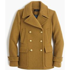 J.Crew Stadium-Cloth Majesty Peacoat ($390) ❤ liked on Polyvore featuring outerwear, coats, evening coat, j crew coat, brown peacoat, j.crew and pea coat