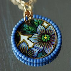 Vintage Tin Flower Necklace Blue and Green Spring Jewelry