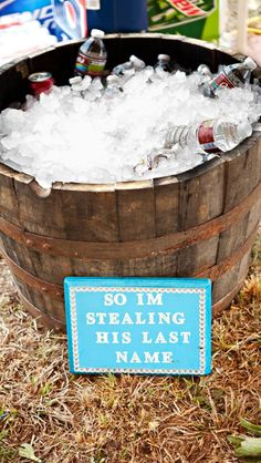 """For around the game areas, maybe not the wooden barrels but, I have a few nice galvanized """"tubs"""" we could paint them the color of your wedding. Wedding Rentals, Outdoor Wedding Venues, Indoor Wedding, Wedding Ceremony, Our Wedding, Dream Wedding, Country Wedding Decorations, Marrying My Best Friend, Wedding Wishes"""