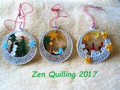 Christmas 2017 - christmas balls or hanging mobiles on Bethlehem, night town and winter forest