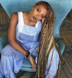 Extra long box braids on @evamarcille Beat by @japanesefaces #voiceofhair . . . . #boxbraids #longhairdontcare #blondehair #blondebombshell #protectivestyle #nolye #blackgirlmagic #rainbow #multicolor #summergoals #summerhair #somethingnew #braidsfordays #braidideas #braidstyles #cornrows #myblackisbeautiful #naturalhair #beads #allnatural
