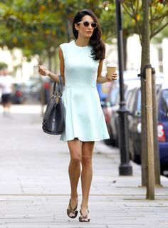 Amal Alamuddin in an A-line dress