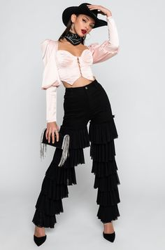 KYLIE HIGH RISE RUFFLES JEANS in black Kylie, Ruffles, Lace Skirt, Ruffle Blouse, Denim, Jeans, Skirts, Clothes, Outfits