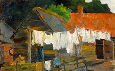 Farmhouse with Wash on the Line by Piet Mondrian. Exhibitions: Mondrian and Colour; Piet Mondrian, Mondrian Kunst, Mondrian Dress, Kandinsky, Landscape Art, Landscape Paintings, Turner Contemporary, Line Artist, Dutch Painters