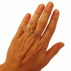 Architectural Structure Wide Geometric Gold Ring -- $69.