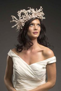 AUSTINE – Floral wreath bridal headpiece delicate pink and white Lily of the Valleys. Natural, romantic look like a modern goddess $325 http://thefeatheredhead.com/products/austine