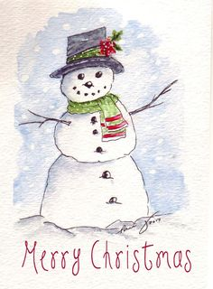 Excellent Photos Snowman painting watercolor Thoughts It truly is challenging to fight putting a snowman painting undertaking in to an art curriculum. Painted Christmas Cards, Watercolor Christmas Cards, Christmas Drawing, Diy Christmas Cards, Christmas Paintings, Watercolor Cards, Xmas Cards, Christmas Art, Handmade Christmas
