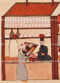 Merchants with their stalls in the bazaar in Constantinople, miniature from Turkish Memories, Cicogna Codex, Turkey 17th Century